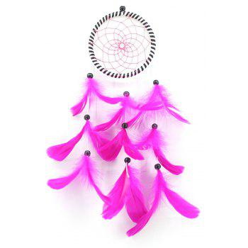 Single Ring Dream Catcher Feather Home Car Wall Hanging Decor - PINK