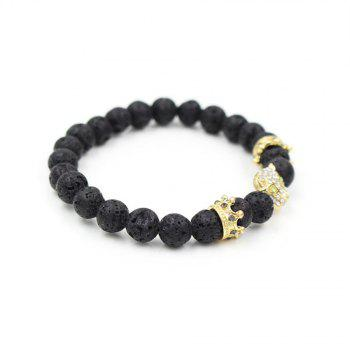 New Pave Setting Crystal Leopard Head Crown Charm Beads Bracelet Lava Stone Energy Yoga Bracelets Jewelry - GOLDEN