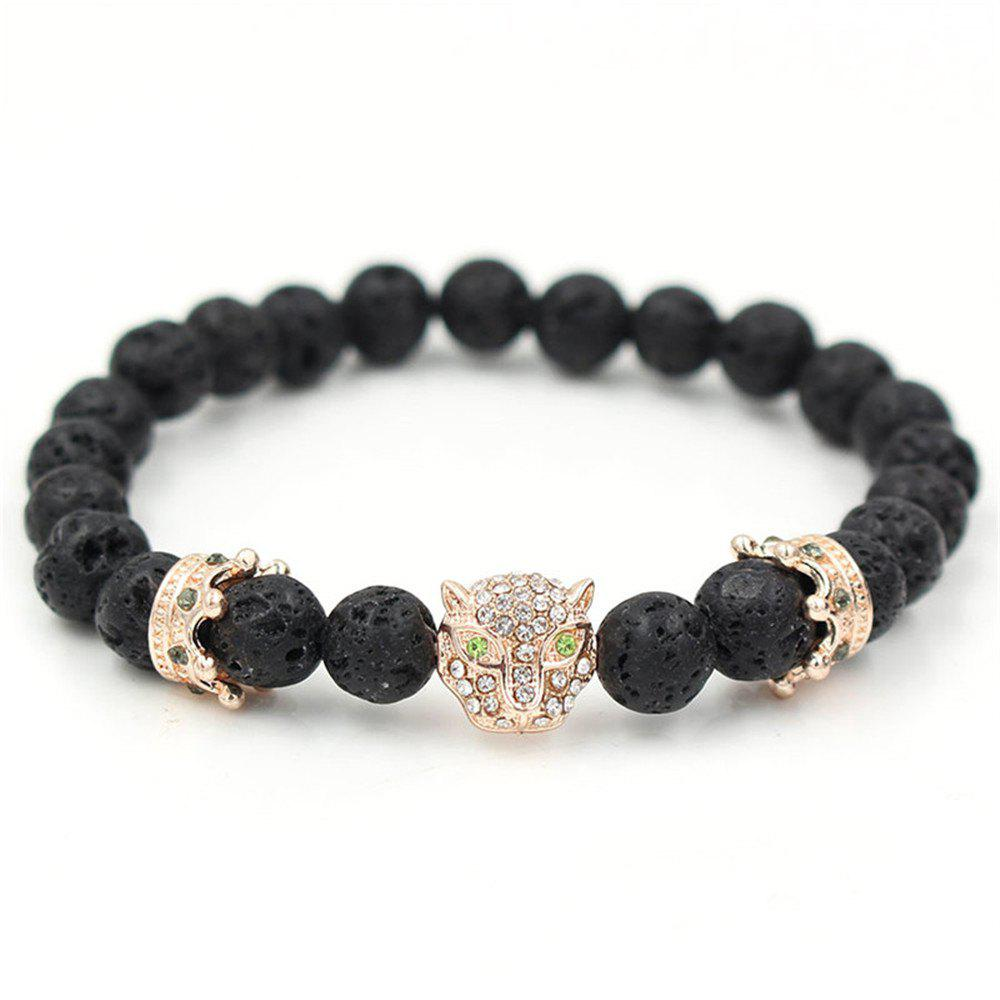New Pave Setting Crystal Leopard Head Crown Charm Beads Bracelet Lava Stone Energy Yoga Bracelets Jewelry - ROSE GOLD