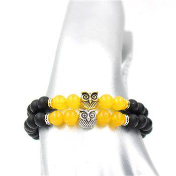Fashion Antique Gold Color Animal Owl Head Charm Black Matt Stone Beaded Elastic Bracelet For Women - SILVER
