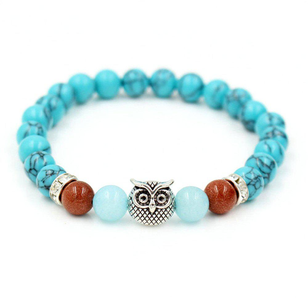 Natural Green Howlite Stone Beads Chakra Bracelets Antique Silver Color Owl Head Charm Bracelet Bijoux Women Men Jewelry - BLUE