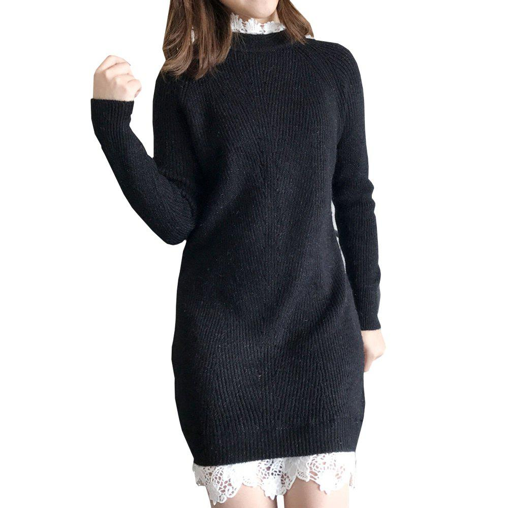 Lace Long Knit Sweater Dress - BLACK ONE SIZE
