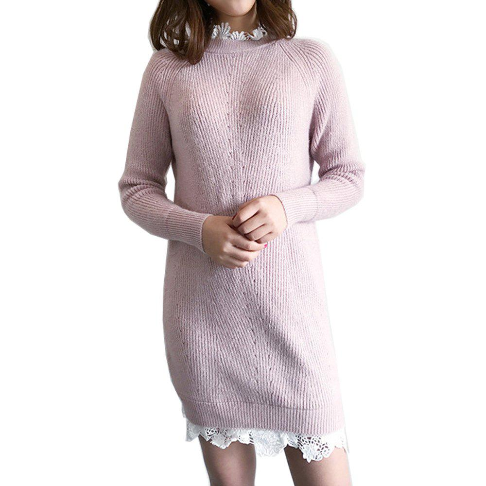 Lace Long Knit Sweater Dress - PINK ONE SIZE
