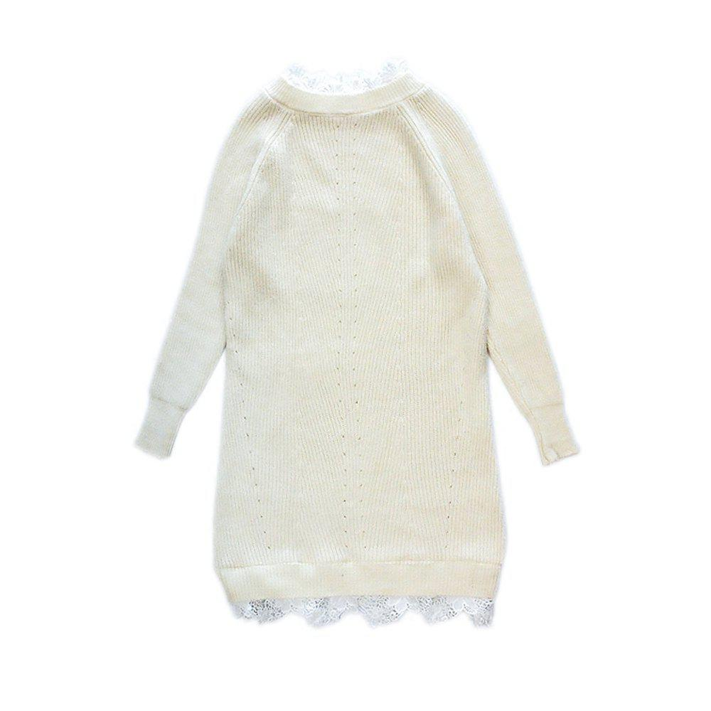 Lace Long Knit Sweater Dress - BEIGE ONE SIZE
