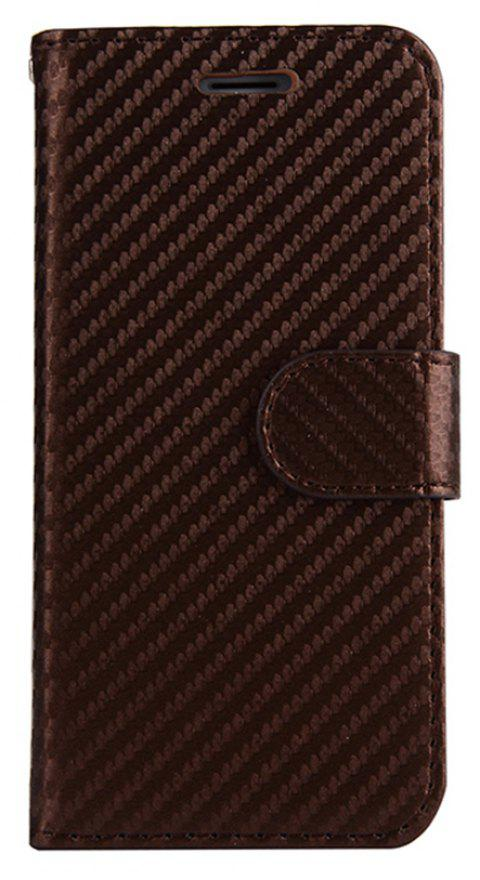 Carbon Fiber Flip Case for iPhone 7 Plus / 8 Plus Stand Wallet Cover - BROWN