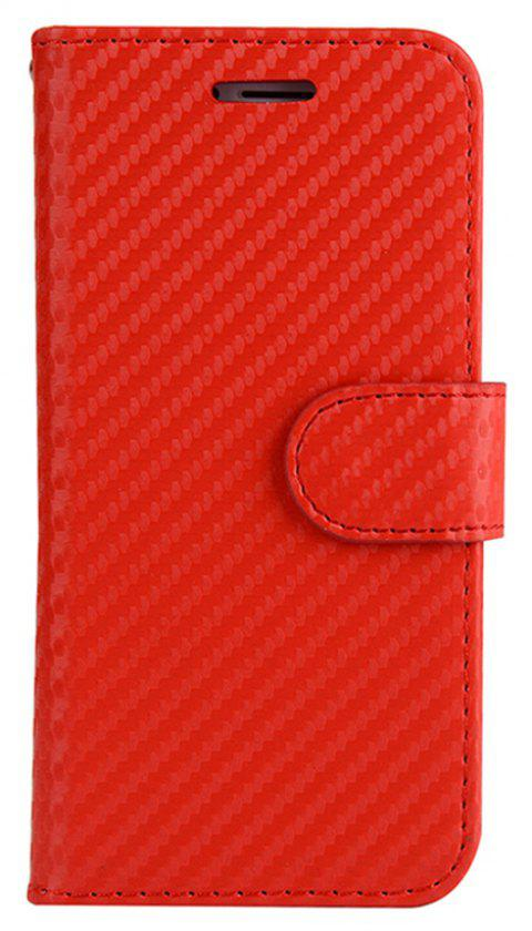 Carbon Fiber Flip Case for iPhone 7 Plus / 8 Plus Stand Wallet Cover - RED