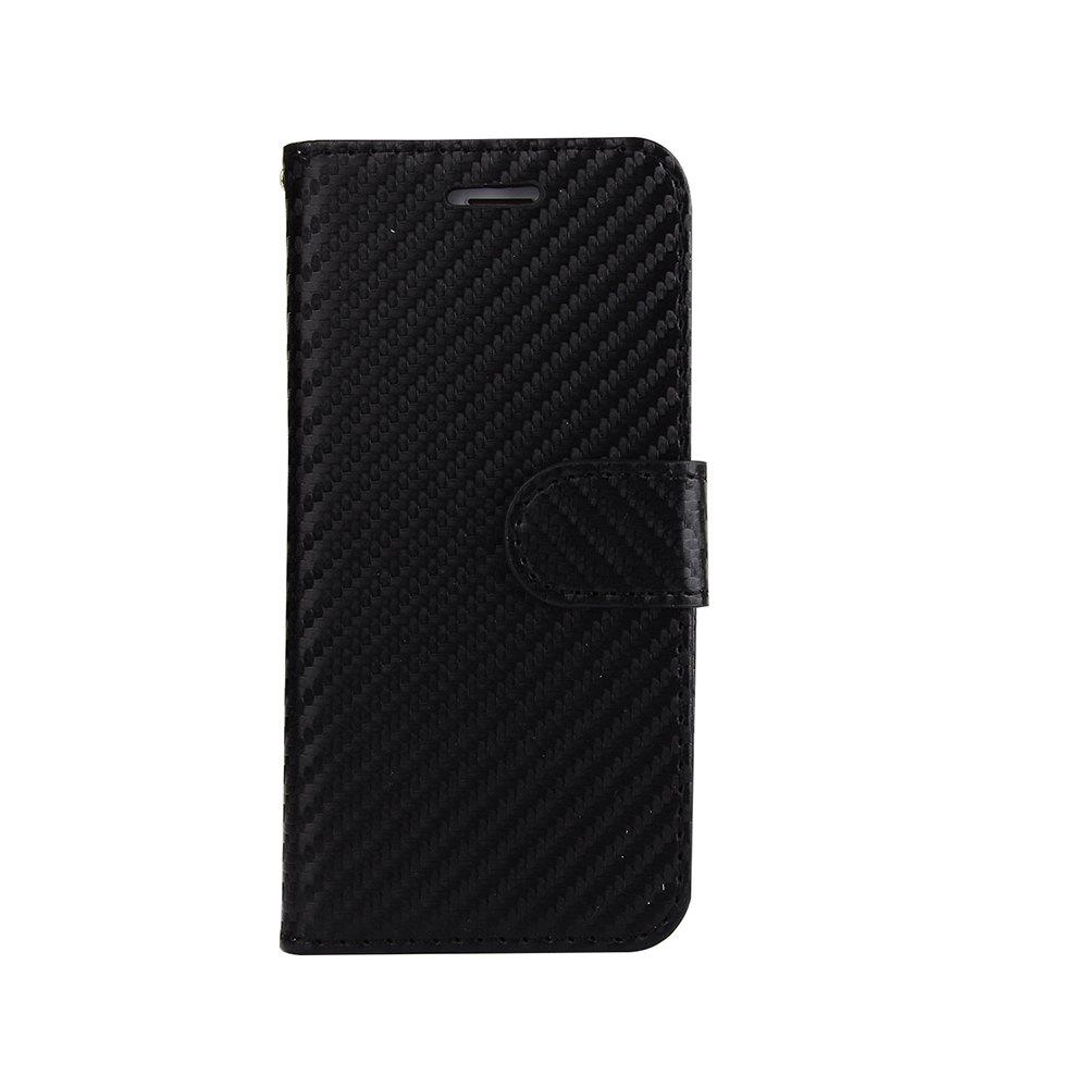 Carbon Fiber Flip Case for iPhone 7 Plus / 8 Plus Stand Wallet Cover - BLACK