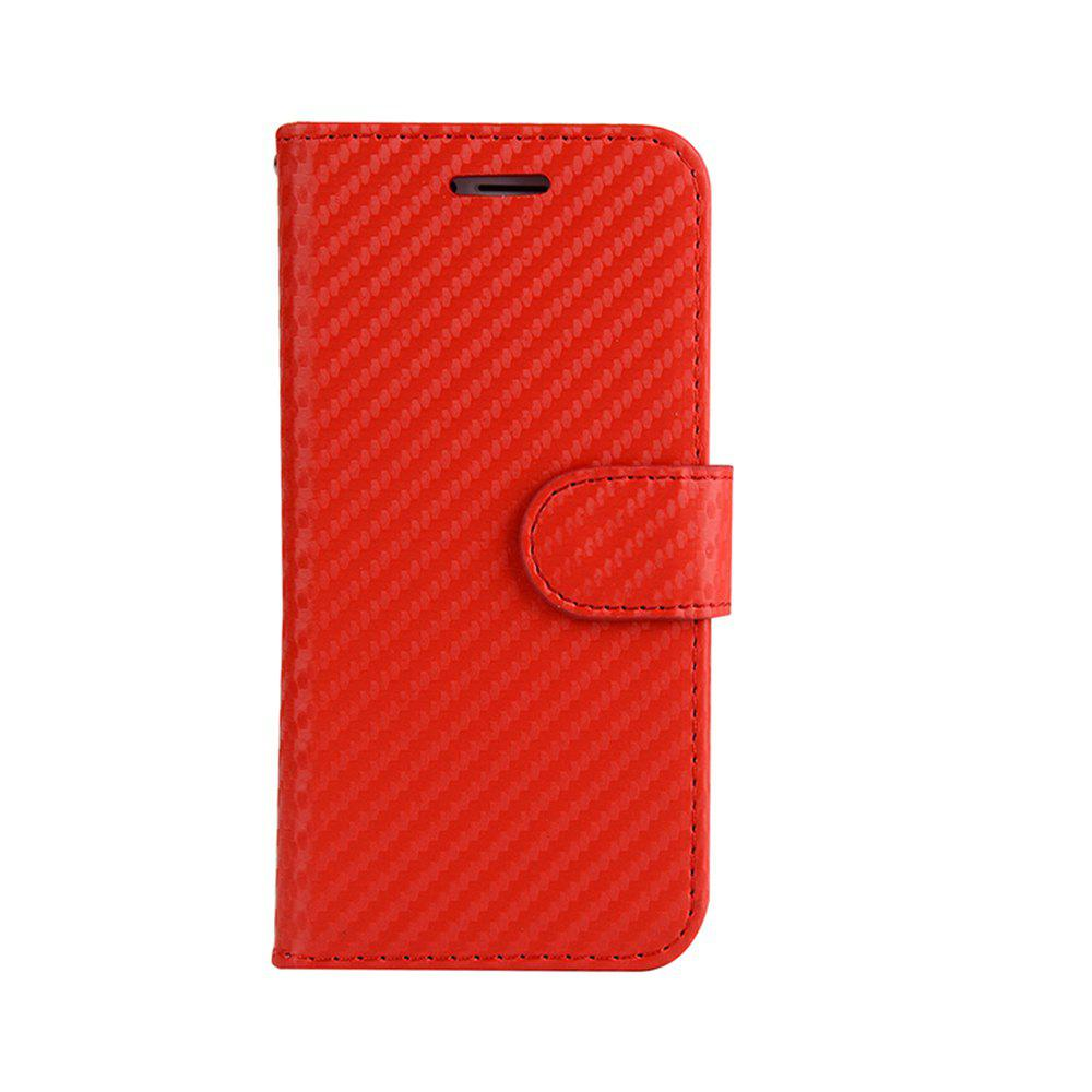Carbon Fiber Flip Case for iphone 7 Stand Wallet Cover for iphone 8 - RED