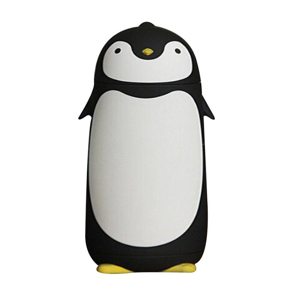 Double Stylish Dumb Penguin Creative Cartoon Insulation Bottle - BLACK 18X7CM