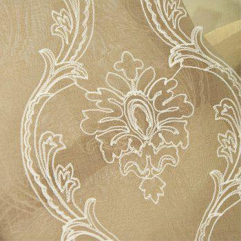 Embroidery Ingot Flowers Thin Section Screens Curtains - COFFEE / WHITE 100X250CM