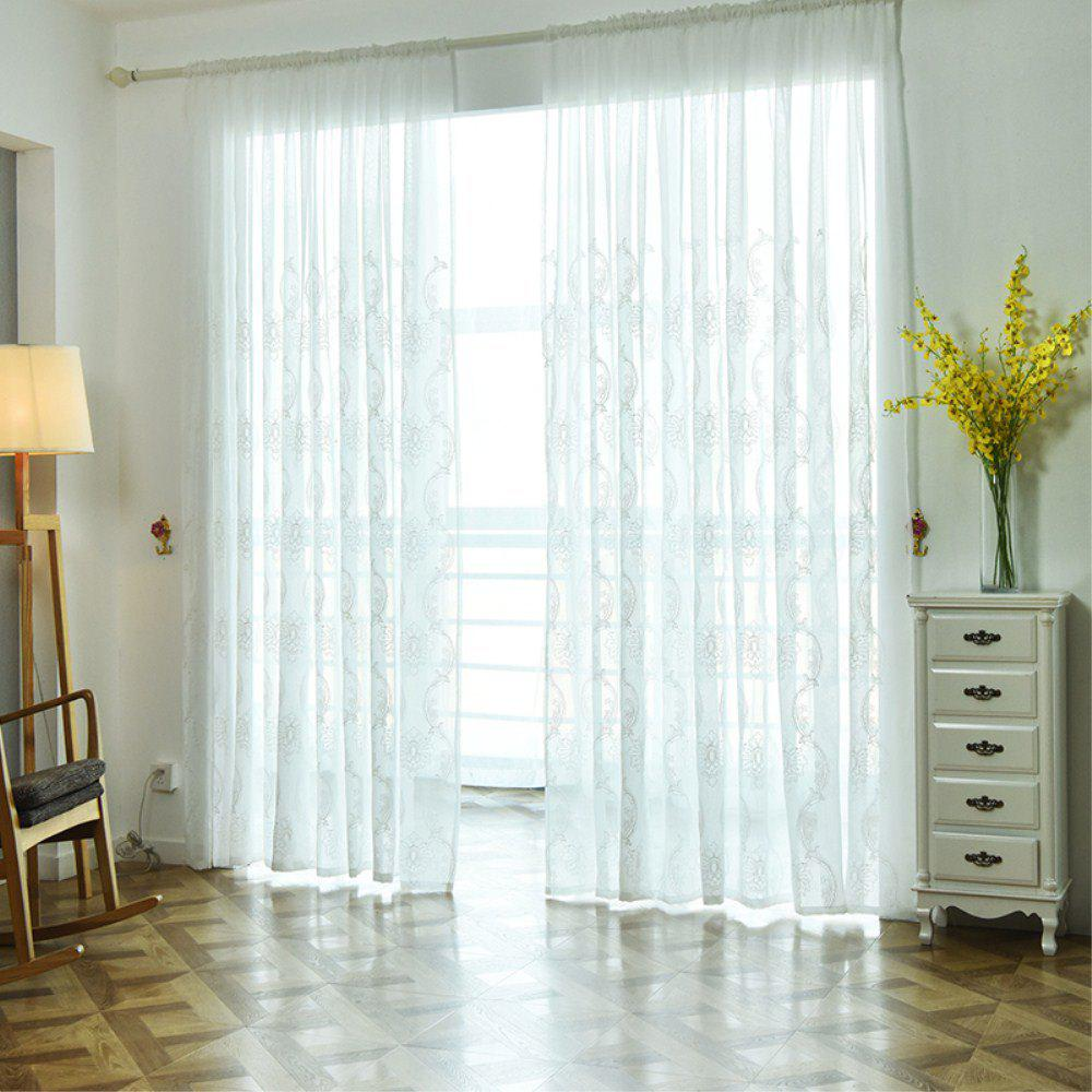 Embroidery Ingot Flowers Thin Section Screens Curtains - WHITE 100X250CM