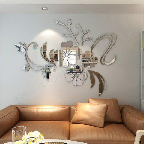 2018 3D Stereo Flower Wall Mirror Wall Stickers In SILVER ...