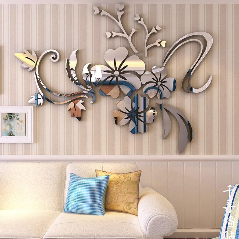 2018 3D Stereo Flower Wall Mirror Wall Stickers SILVER In ...