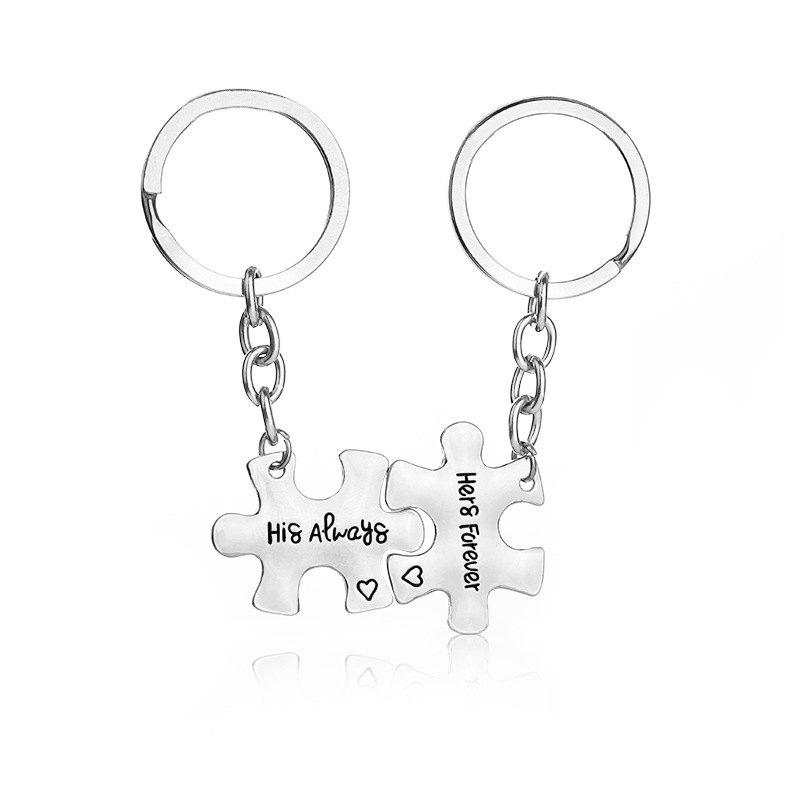 Lovers Letters Decoration Alloy Key Chain 2PCS - SILVER GRAY