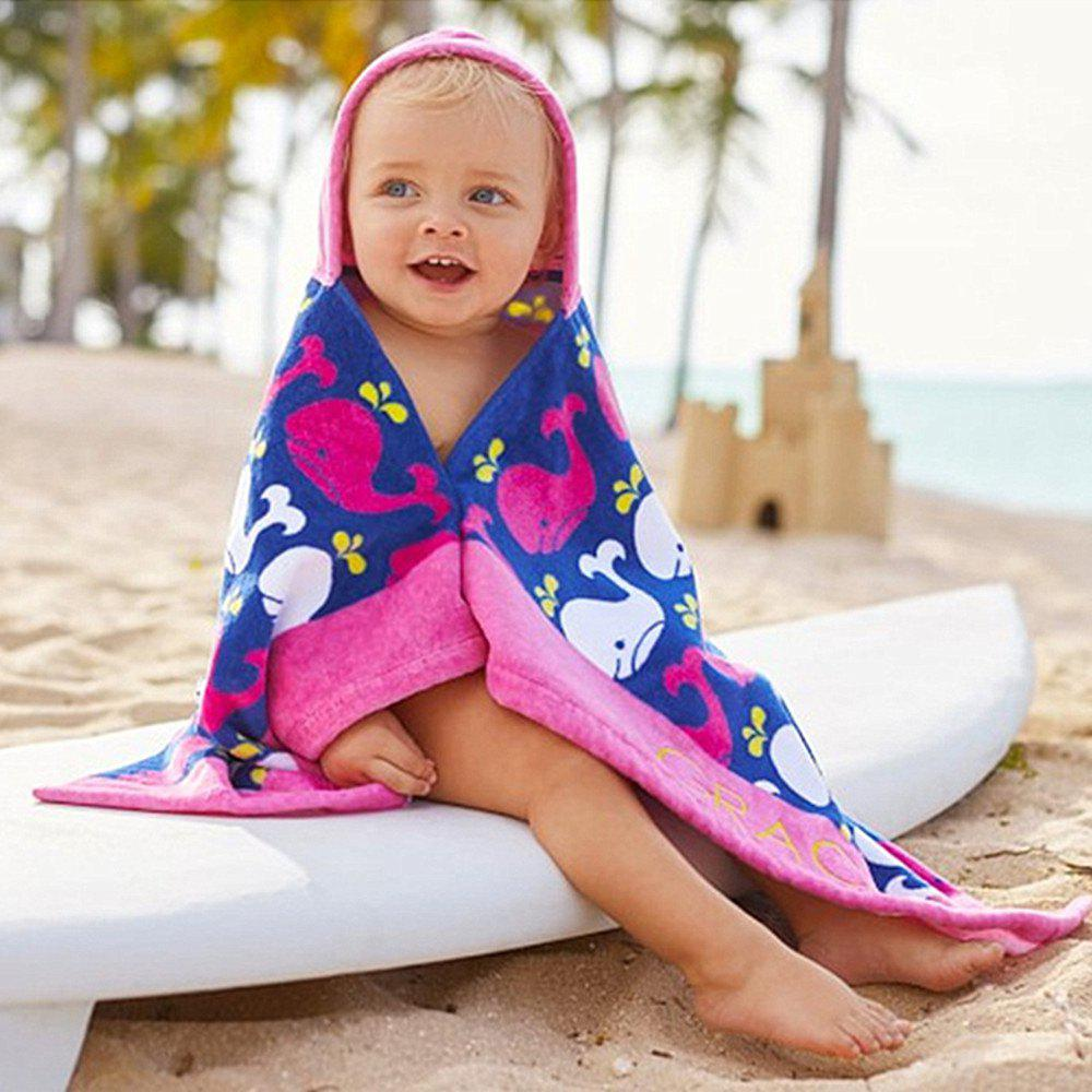 Pure Cotton Baby Hooded Cloak Bath Towel - CERULEAN