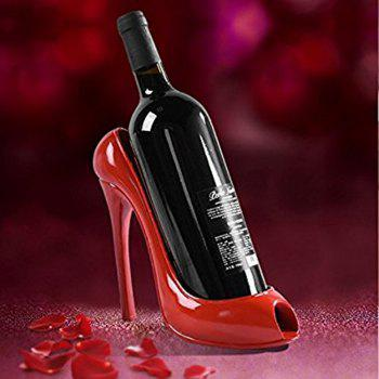 Home Furnishing001 High Heel Shoe Wines Bottle Holder Stylish Conversation Wine Rack - RED