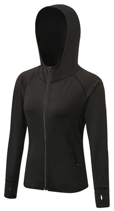 Women's Sports Yoga Stitching Colors Zipper Quick-Drying Jacket - BLACK S