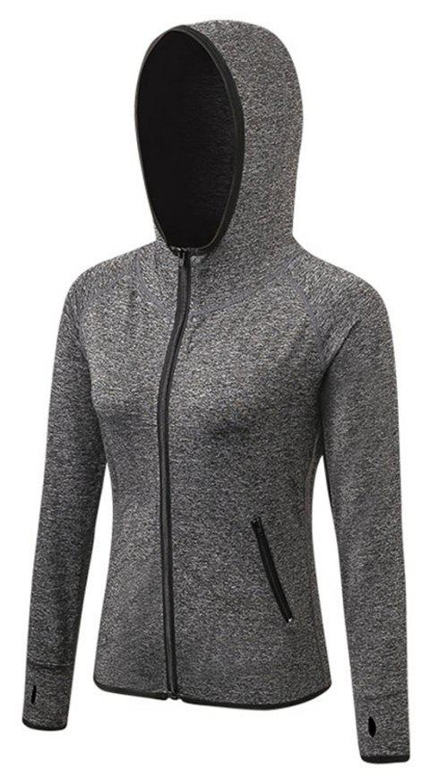 Women's Sports Yoga Stitching Colors Zipper Quick-Drying Jacket - GRAY L