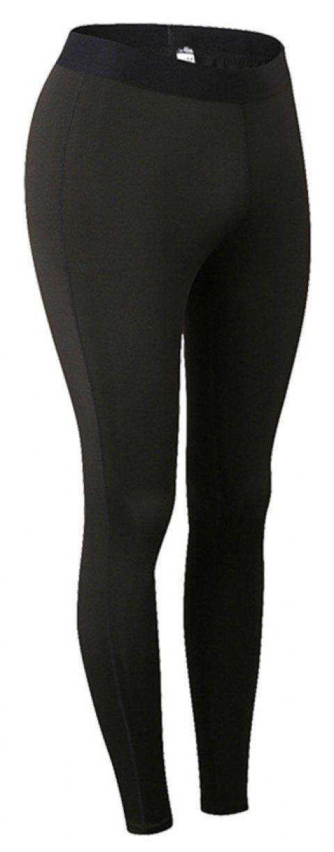 Women Sports Fitness Yoga Wicking Trousers - BLACK 2XL