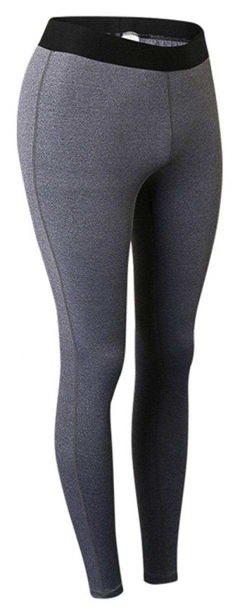 Women Sports Fitness Yoga Wicking Trousers - GRAY S