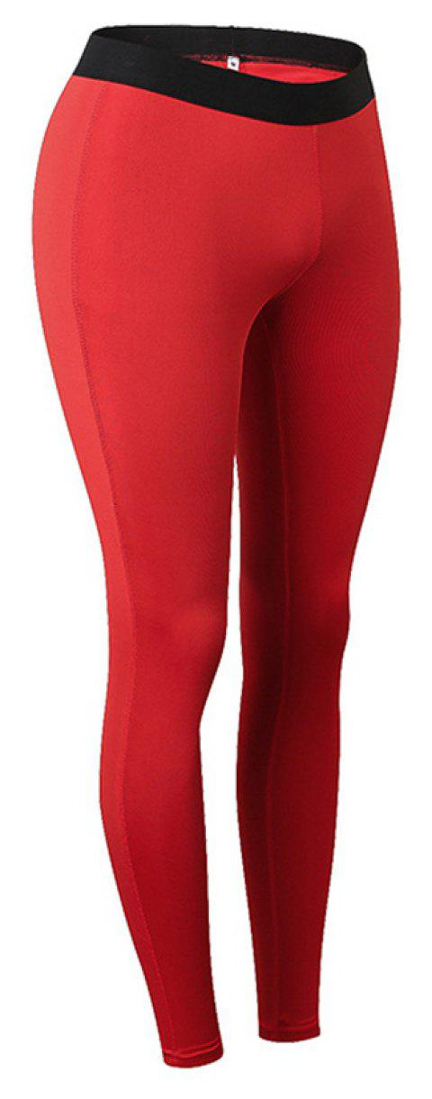 Women Sports Fitness Yoga Wicking Trousers - RED L