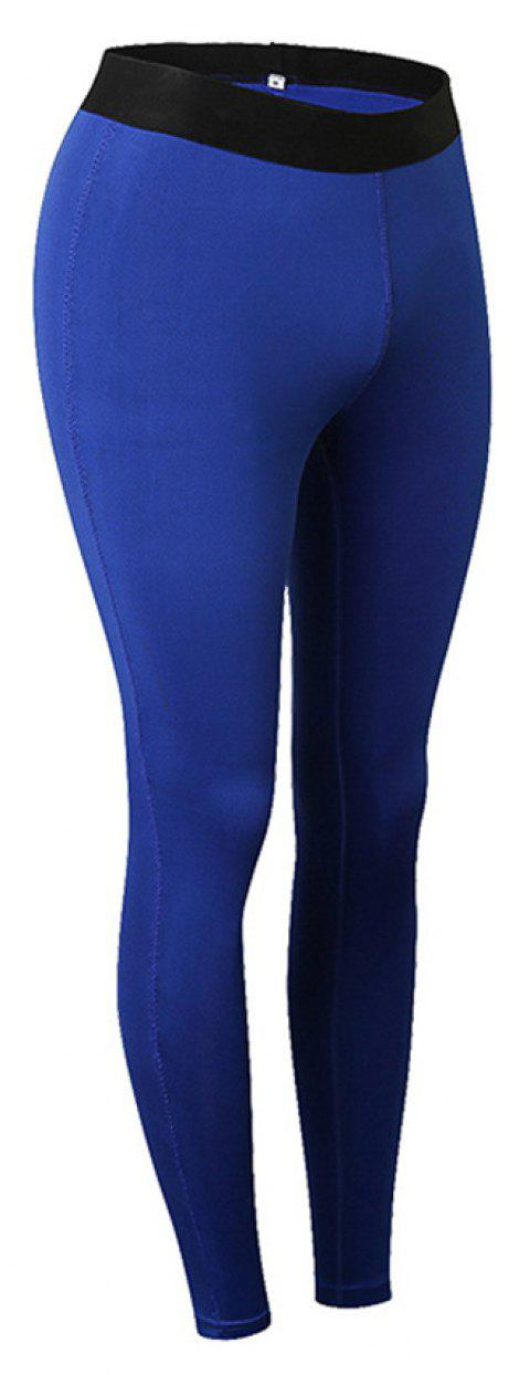 Femme Sports Fitness Yoga Wicking Pantalon - Bleu S