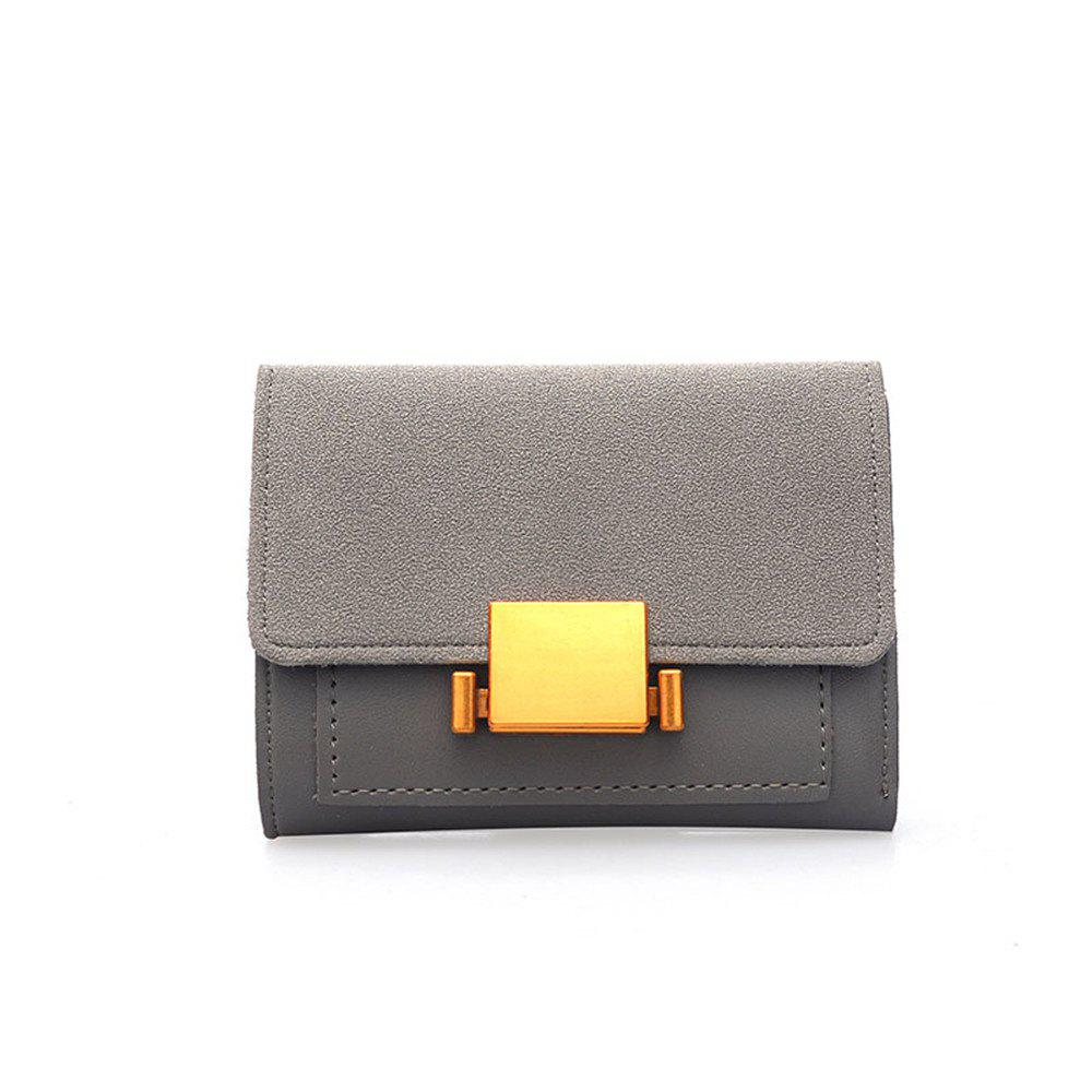 Korean Female Short Simple All-match Ring Buckle Fashion Purse Wallet Scrub - GRAY