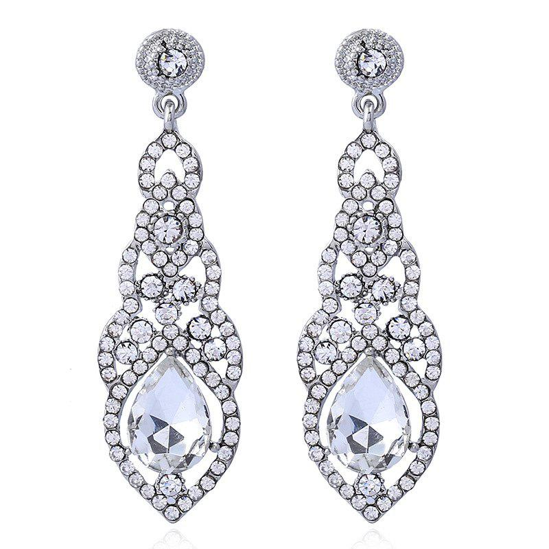Bride Diamond Earrings Jewelry Ladies Long - SILVER