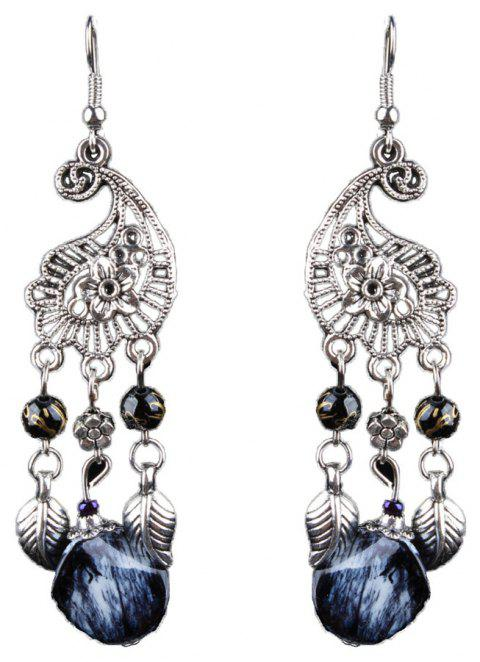 Vintage Black Long Tassel Earrings Pierced Earrings in Bohemia - SILVER