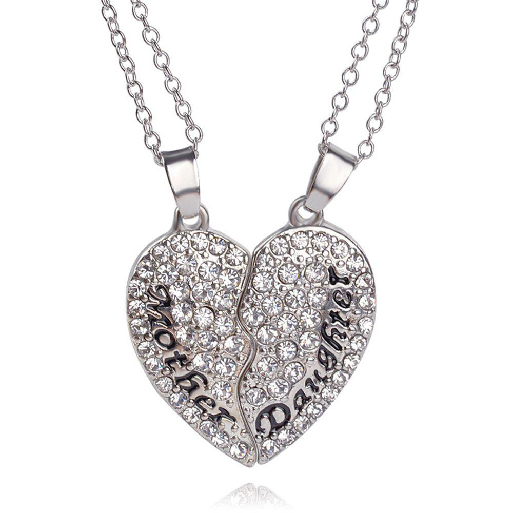 Women's Fashion Necklace Elegant Heart Shaped Gemstones Chic Accessory - SILVER