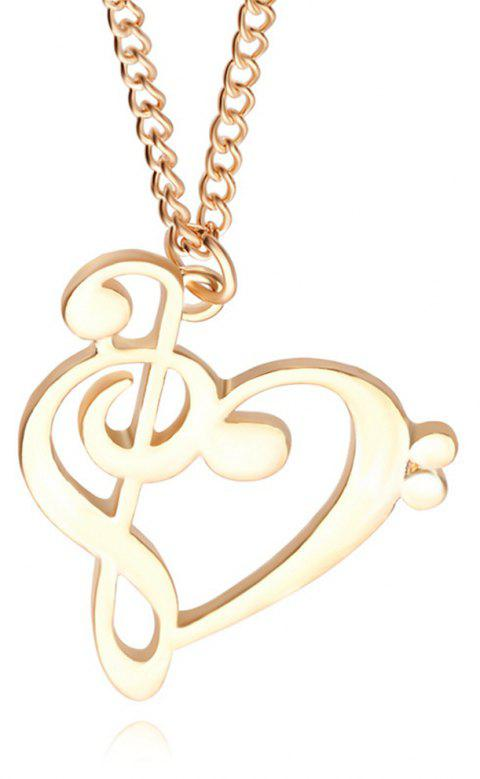 Women's Fashion Necklace Creative Hollowed Out Musical Notation Accessory - GOLDEN