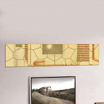 Acrylic TV Background Decoration Mirror Wall Decoration Three-Dimensional Geometric Pattern Set - GOLDEN 30X30CM