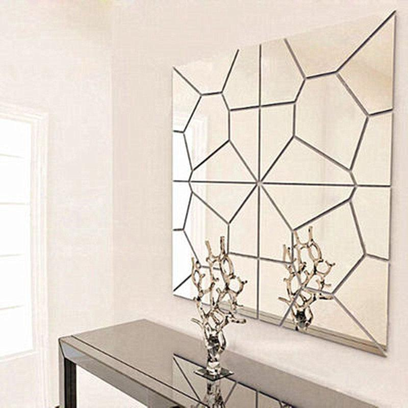 Acrylic TV Background Decoration Mirror Wall Decoration Three-Dimensional Geometric Pattern Set - SILVER 30X30CM