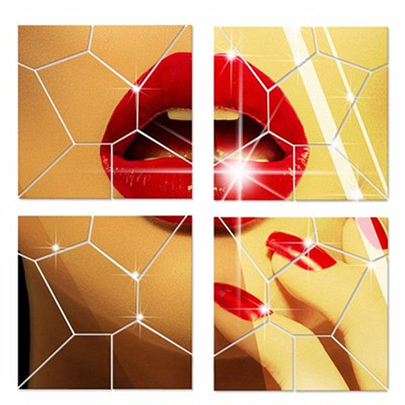 Acrylic TV Background Decoration Mirror Wall Decoration Three-Dimensional Geometric Pattern Set - GOLDEN 40X40CM