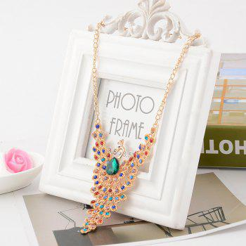 Women Girls Diamond Colorful Peacock Pendant Necklace Fine Jewelry Gifts - COLOR