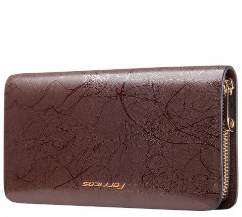 Portefeuille en cuir pour hommes Long Business Clutch grand sac à main - Café