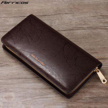 Wallet Leather Men's Long Business Clutch Large Hand Bag - COFFEE