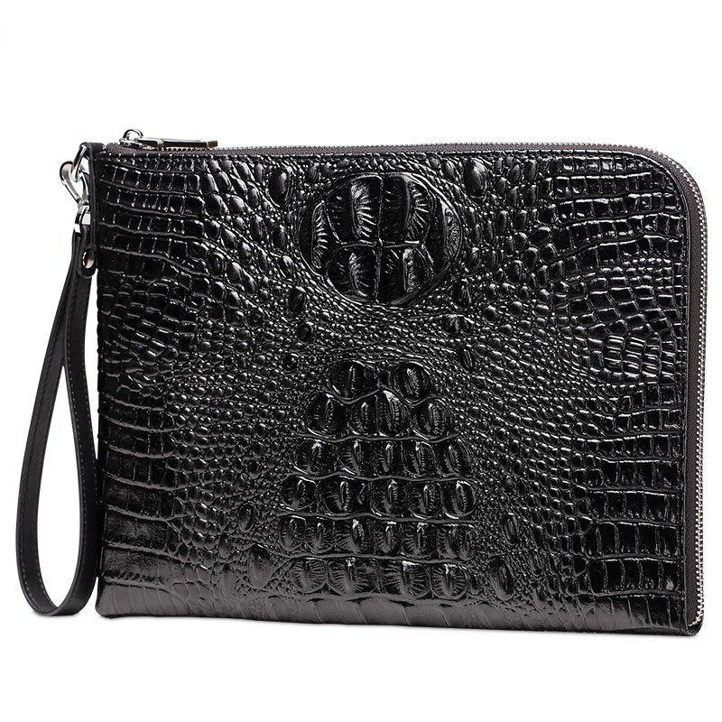 Men's Leather Pattern Clutch Bag Large Business Wallet Purse - BLACK