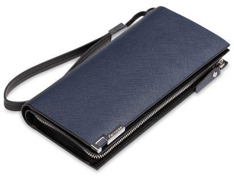 Leather Wallet First Layer of Men's Long Business Clutch Large-Capacity Purses - BLUE