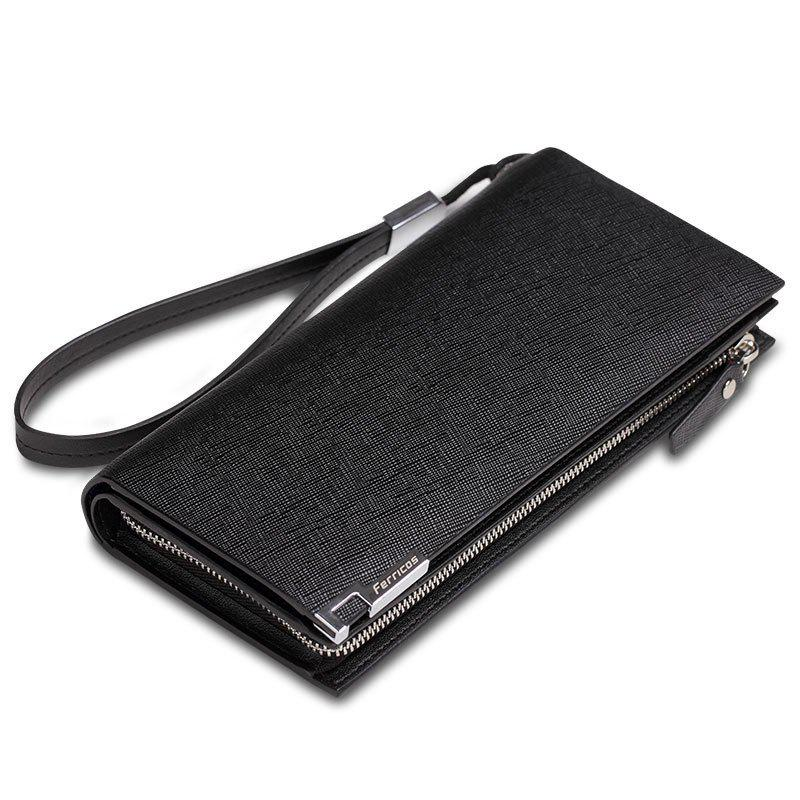 Leather Wallet First Layer of Men's Long Business Clutch Large-Capacity Purses - BLACK