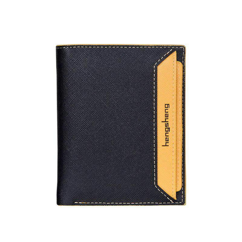 Men Short Paragraph Color Wallet Driver's License Bag Students Slim Creative Package - YELLOW