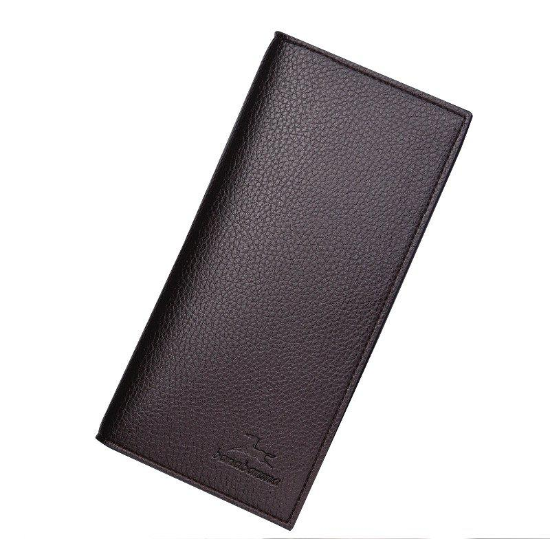Long Section of Young Men's Wallet Purse Lid Leather Wallet Purse - COFFEE