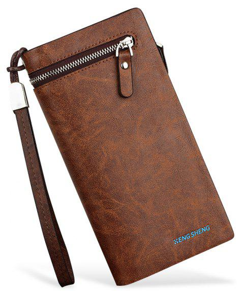 The New Fire-Embossed Men's Handbag with Hand Strap Mobile Phone Bag Long Section - LIGHT COFFEE