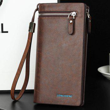 The New Fire-Embossed Men's Handbag with Hand Strap Mobile Phone Bag Long Section - DARK COFFEE