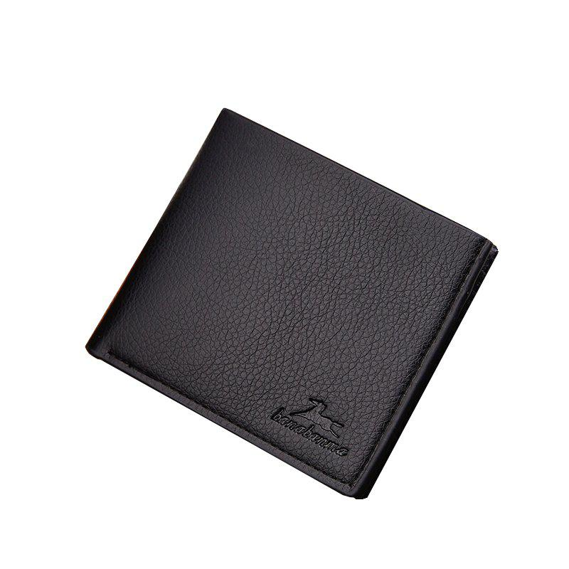 New Business Leather Men's Short Wallet - BLACK