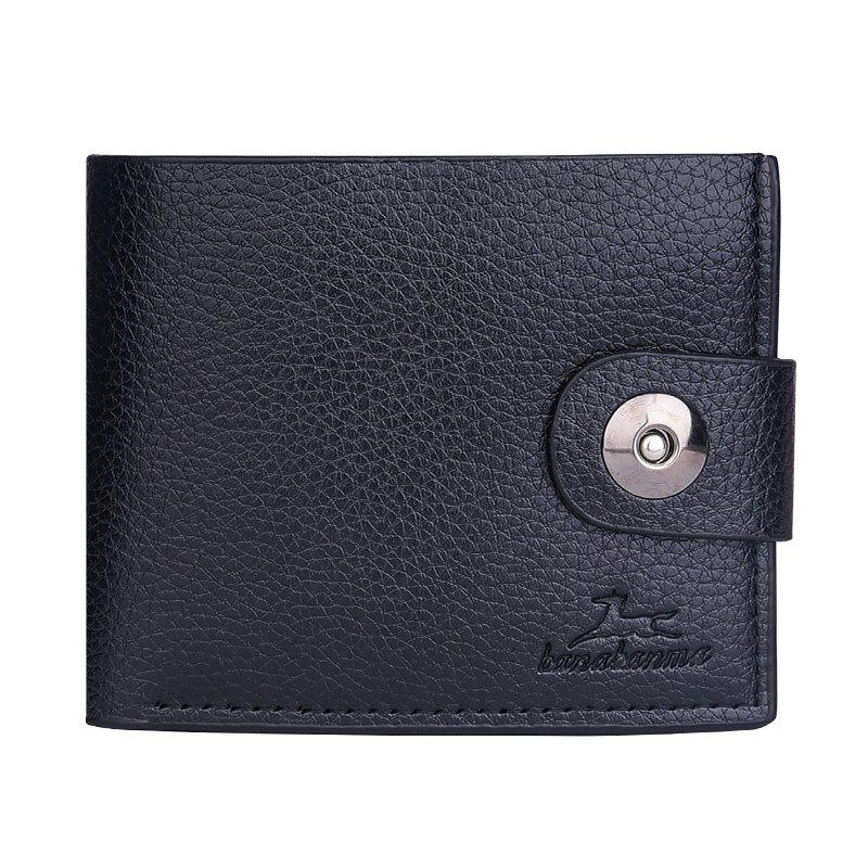 New Men's Wallet Short Korean Button Fashion Casual Classic Purses - BLACK