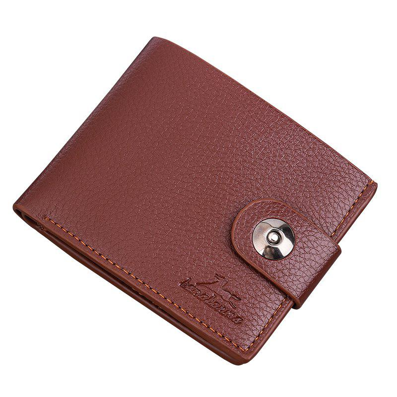New Men's Wallet Short Korean Button Fashion Casual Classic Purses - LIGHT COFFEE