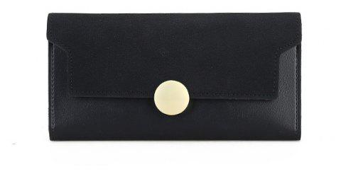 The New Female Long Simple Hand Splicing Three Fold Buckle Wallet - BLACK