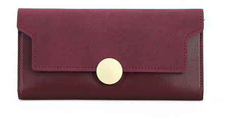 The New Female Long Simple Hand Splicing Three Fold Buckle Wallet - RED