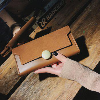The New Female Long Simple Hand Splicing Three Fold Buckle Wallet - MAIZE